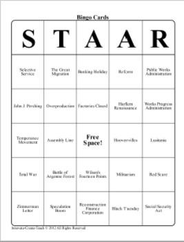 U.S. History STAAR Bingo Ch-17,18,19.
