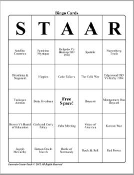 U.S. History STAAR Bingo Ch-20,21,22,23.