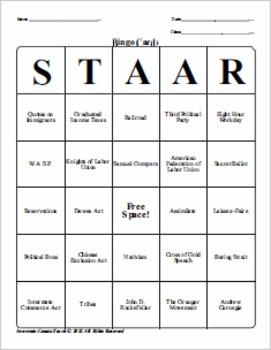 U.S. History STAAR Bingo Ch-6, 7, 8, 9, 10, 11.