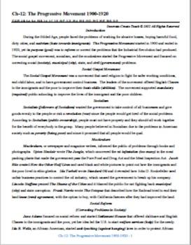U.S. History STAAR Chapter Bundle Ch-12: The Progressive M