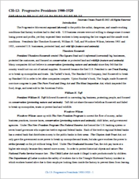 U.S. History STAAR Chapter Bundle Ch-13: The Progressive Presidents 1900-1920