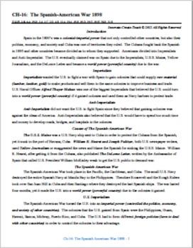 U.S. History STAAR Chapter Bundle Ch-16: Spanish-American