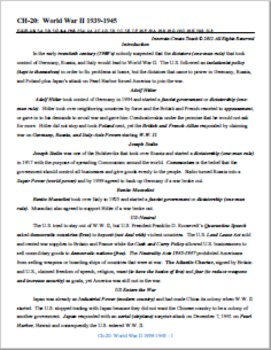 U.S. History STAAR Chapter Bundle Ch-20: World War II 1939-1945