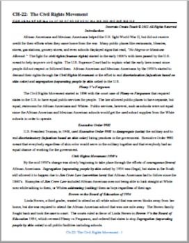 U.S. History STAAR Chapter Bundle Ch-22: The Civil Rights Movement