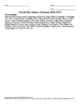 U.S. History STAAR Crossword Puzzle Ch-24: The Sixties-Vietnam 1954-1973