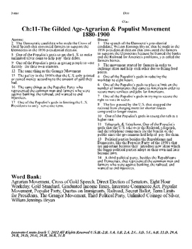 U.S. History STAAR Crossword Puzzle Ch-11: The Gilded Age-Agrarian & Populist