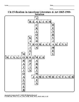 U.S. History STAAR Crossword Puzzle Ch-15: Realism in American Literature & Art