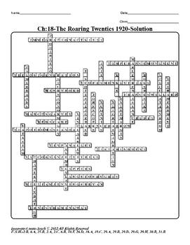 U.S. History STAAR Crossword Puzzle Ch-18: The Roaring Twenties 1920