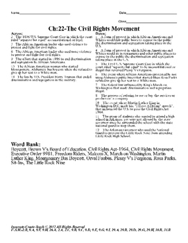 U.S. History STAAR Crossword Puzzle Ch-22: The Civil Rights Movement