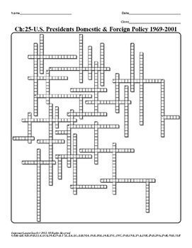 U.S. History STAAR Crossword Puzzle Ch-25: U.S. Presidents Domestic & Foreign