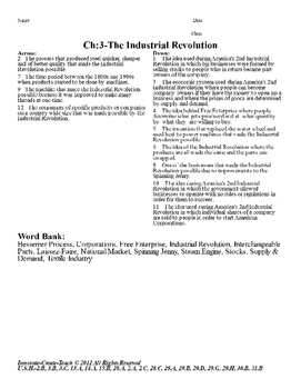U.S. History STAAR Crossword Puzzle Ch-3: The Industrial Revolution