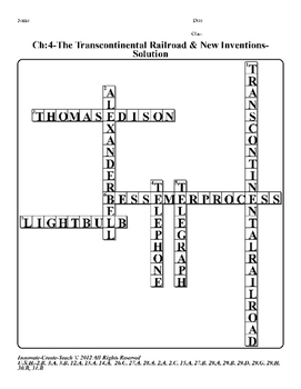 U.S. History STAAR Crossword Puzzle Ch-4: The Transcontinental Railroad