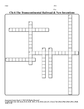 U.S. History STAAR Crossword Puzzle Ch-4: The Transcontine
