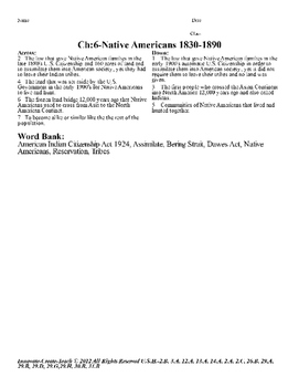 U.S. History STAAR Crossword Puzzle Ch-6: Native Americans 1830-1890