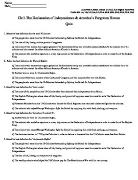 U.S. History STAAR Quiz Ch-1: The Declaration of Independence