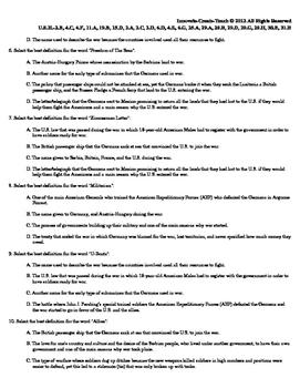 U.S. History STAAR Quiz Ch-17: World War I 1914-1918