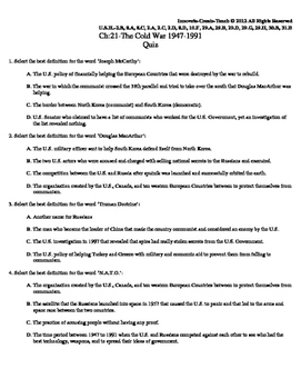 U.S. History STAAR Quiz Ch-21: The Cold War 1947-1991