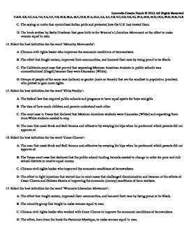 U.S. History STAAR Quiz Ch-23: The Sixties-Minority Movements