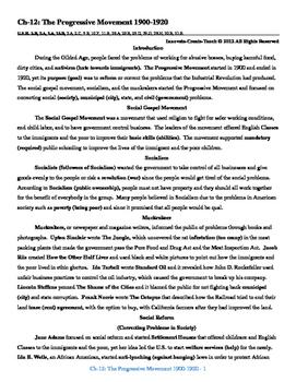 U.S. History STAAR Reader Ch-12: The Progressive Movement 1900-1920