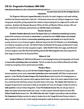 U.S. History STAAR Reader Ch-13: The Progressive Presidents 1900-1920