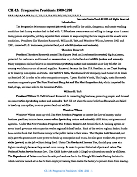 U.S. History STAAR Reader Ch-13: The Progressive President