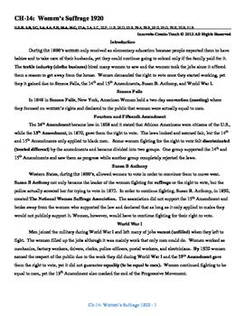 U.S. History STAAR Reader Ch-14: Women's Suffrage 1920