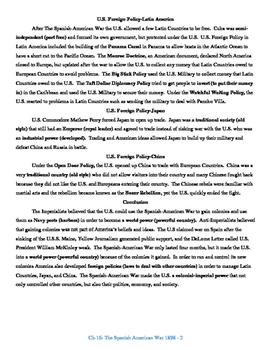 U.S. History STAAR Reader Ch-16: The Spanish-American War 1898
