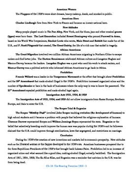 U.S. History STAAR Reader Ch-18: The Roaring Twenties 1920