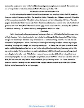 U.S. History STAAR Reader Ch-6: Native Americans 1830-1890