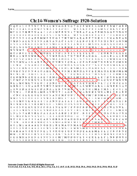 U.S. History STAAR Word Search Puzzle Ch-14: Women's Suffrage 1920