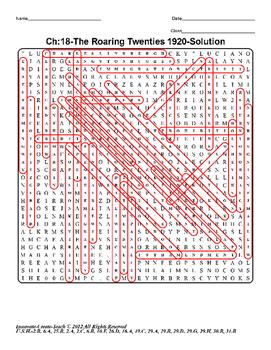 U.S. History STAAR Word Search Puzzle Ch-18: The Roaring Twenties 1920