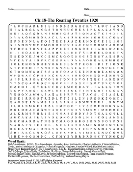 U.S. History STAAR Word Search Puzzle Ch-18: The Roaring T