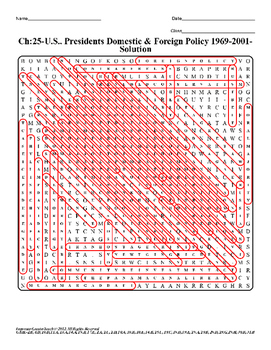 U.S. History STAAR Word Search Puzzle Ch-25: U.S. Presidents Domestic & Foreign