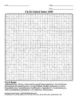 U.S. History STAAR Word Search Puzzle Ch-26: United States 2000