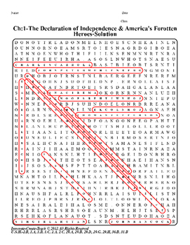 U.S.History STAAR Word Search Puzzle Ch-1: The Declaration of Independence