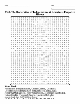 U.S.History STAAR Word Search Puzzle Ch-1: The Declaration