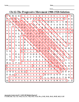 U.S. History STAAR Word Search Puzzle Ch-12: The Progressive Movement 1900-1920