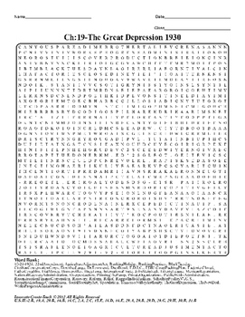 U.S. History STAAR Word Search Puzzle Ch-19: The Great Depression 1930