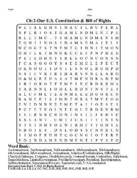 U.S. History STAAR Word Search Puzzle Ch-2: Our U.S. Constitution