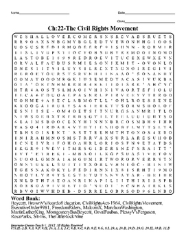 U.S. History STAAR Word Search Puzzle Ch-22: The Civil Rights Movement