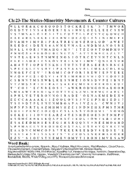 U.S. History STAAR Word Search Puzzle Ch-23: The Sixties-Minority Movements