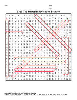 U.S. History STAAR Word Search Puzzle Ch-3: The Industrial Revolution