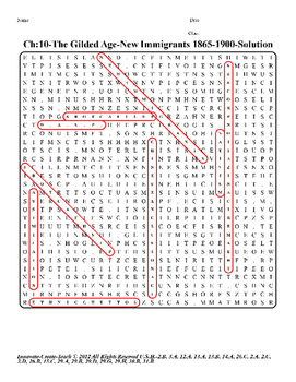 U.S. History STAAR Word Search Puzzle Ch-10: The Gilded Age-New Immigrants
