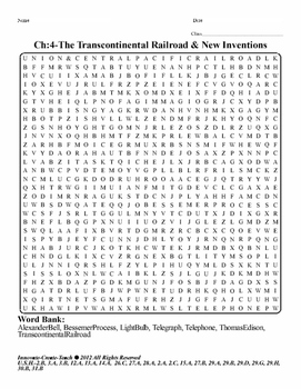 U.S. History STAAR Word Search Puzzle Ch-4: The Transcontinental Railroad