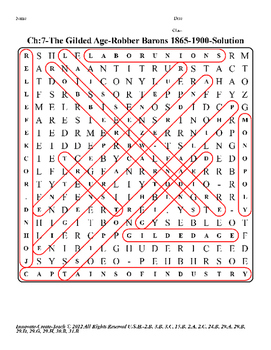 U.S. History STAAR Word Search Puzzle Ch-7: The Gilded Age-Robber Barons