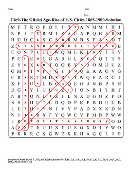 U.S. History STAAR Word Search Puzzle Ch-9: The Gilded Age-Rise of U.S. Cities