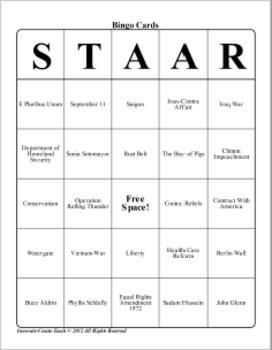 U.S. History STARR Bingo Ch-24,25,26,27.