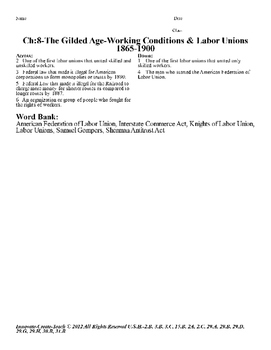 U.S. History STARR Crossword Puzzle Ch-8: The Gilded Age-Working Conditions