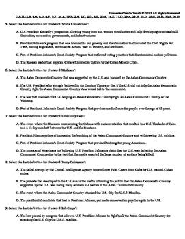U.S. History STARR Quiz Ch-25: U.S. Presidents Domestic & Foreign