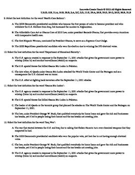 U.S. History STARR Quiz Ch-26: United States 2000